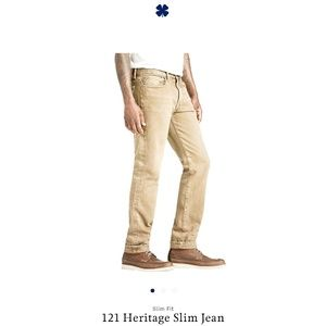Lucky Brand 121 Heritage Straight Tan Mens Jeans